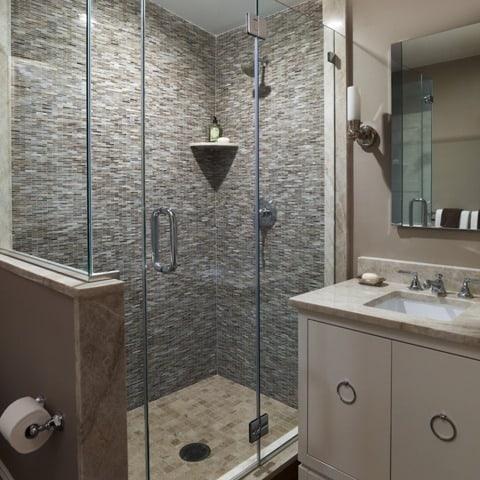 ремонт ванны с душем, керамогранит