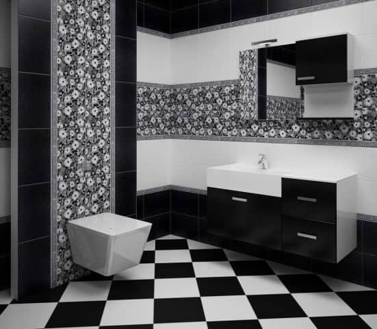 Чередование цвета в черно-белой  ванной