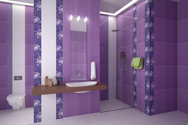 Сиреневая ванная комната — дизайн с фото