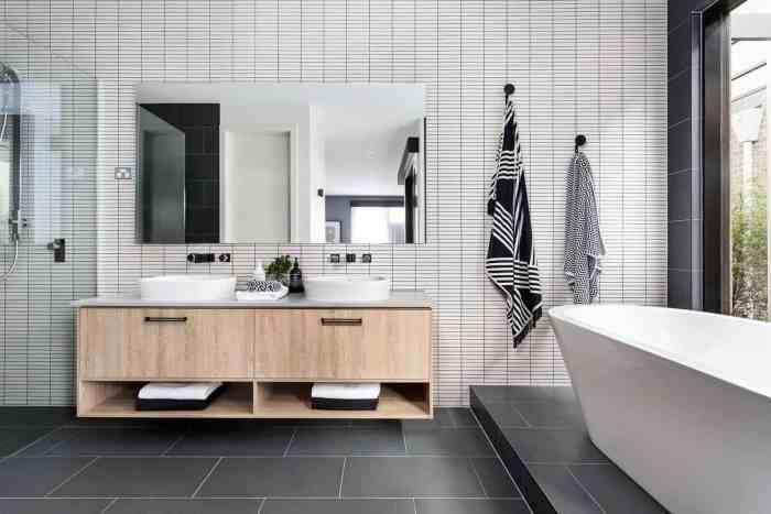 Дизайн ванной комнаты с использование черных, серых, белых цветов