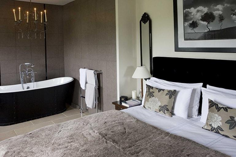 Интерьер ванной комнаты со спальней
