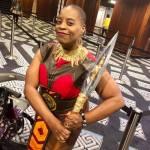 Robin Wilson-Beattie dressed as a Wakanda warrior
