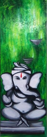 Ganesha – texture on canvas
