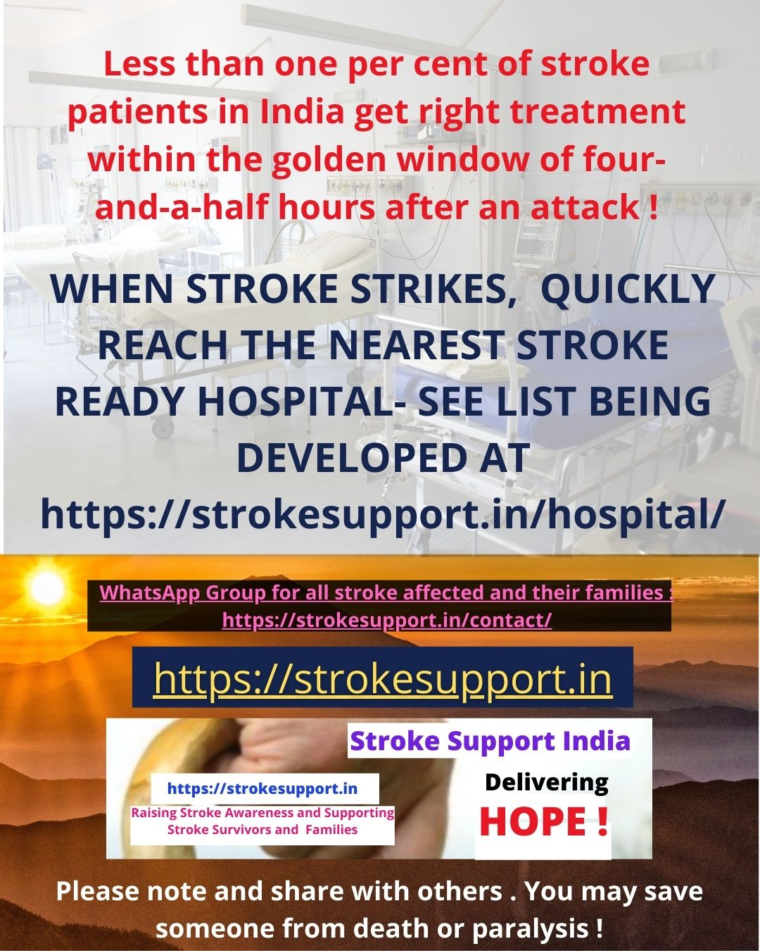 When Stroke Strikes, quickly reach the nearest Stroke Ready Hospital. For list see https://strokesupport.in/hospital/