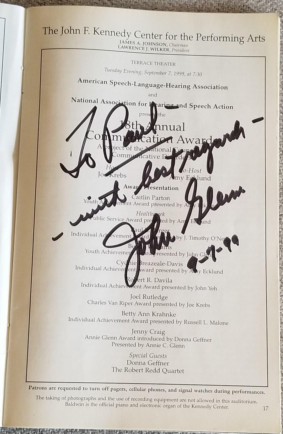 Image of Program page signed by John Glenn