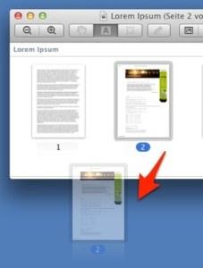 Ablage einer herausgelösten Seite auf dem Desktop