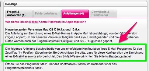 Hinweis auf gesondertes Email-Passwort