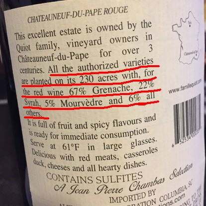 french wine back label