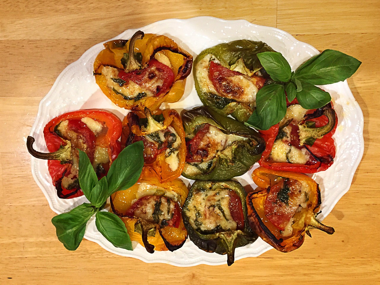 Bell Peppers Stuffed with Cheese & Tomato