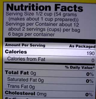 calories on food label