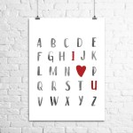 Alphabet I Love You Art Print