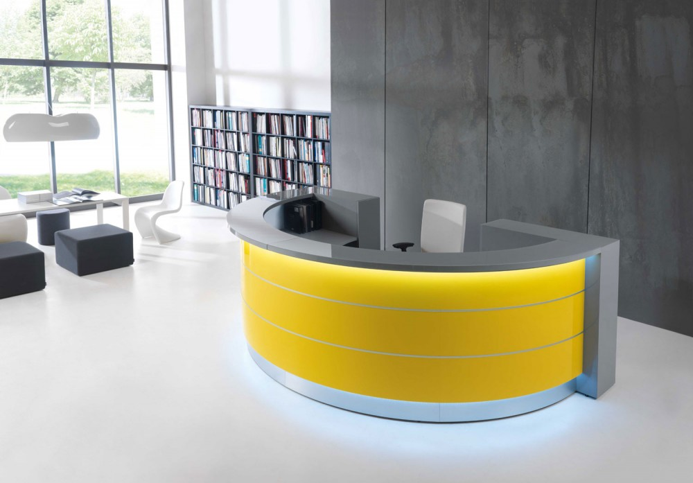 Gold accents such as reception desks make bright, bold impressions during the colder months