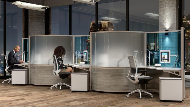 curved social distancing workstations