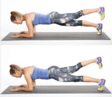 Plank with alternating leg lifts