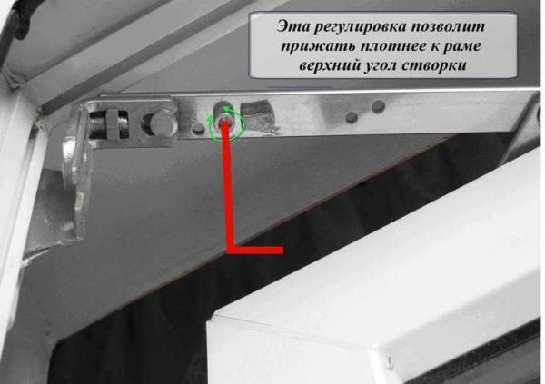Säätö, jonka avulla voit tehdä muovi-ikkunan yläkulman