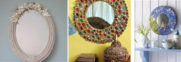 Eksempler på dekorasjon av et rund speil