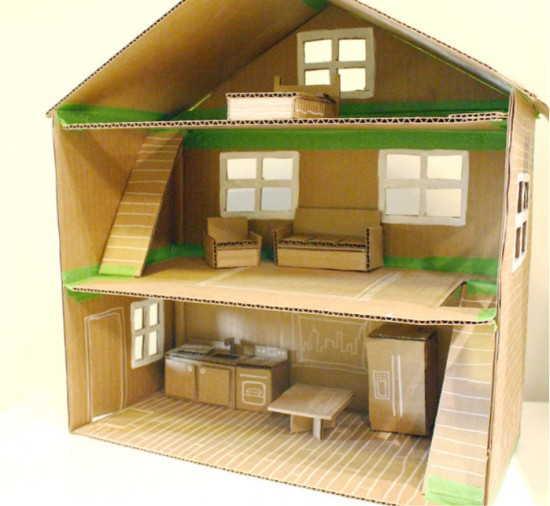 Hus for Barbie eller andre ikke veldig store dukker kan gjøres fra papp