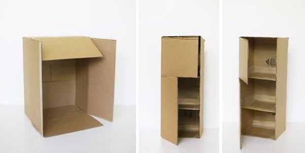 Hogyan készítsünk egy kabinet egy baba egy kartondobozból
