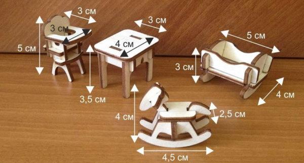 A bútorok hozzávetőleges dimenziói a babákhoz