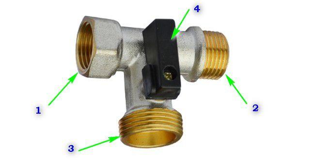 Большинство проходных тройников для подключения бытовой техники к водопроводу имеет примерно одинаковую компоновку