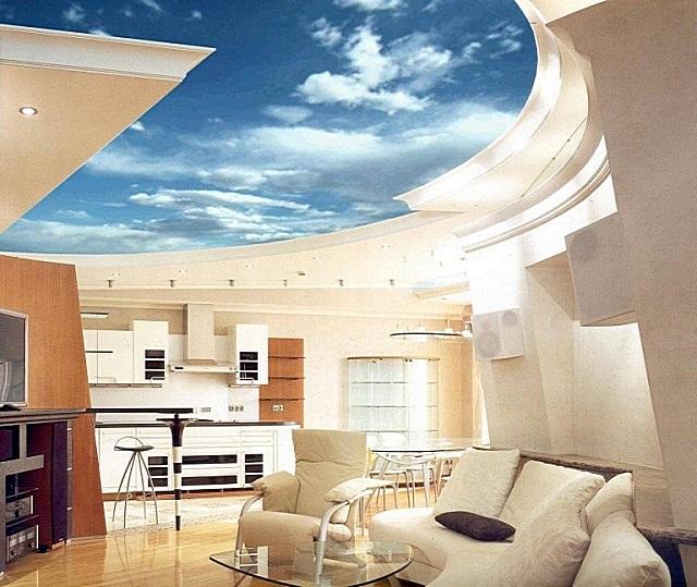 Особыми возможностями «раздвигать пространство» обладают натяжные потолки с грамотно подобранными композициями