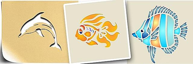 Трафареты со стилизованными изображениями морских обитателей.
