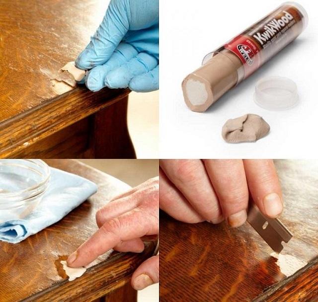 Двухкомпонентная шпаклевка подходит и для ремонта шпонированной поверхности мебели