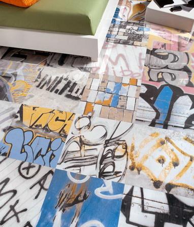 Bodenfliesen Grafik Graffiti Wohnbereich