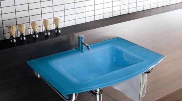 Waschbecken Glas blau