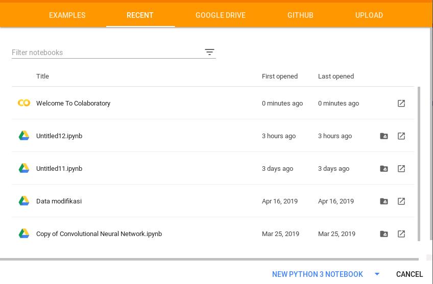 tampilan google colab