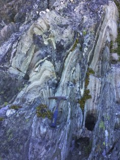 Folded blueschists in the Condrey Mountain Window, California.