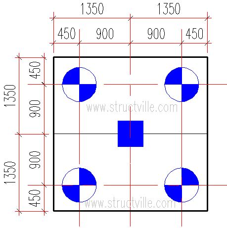 Structural layout of column supported by four piles