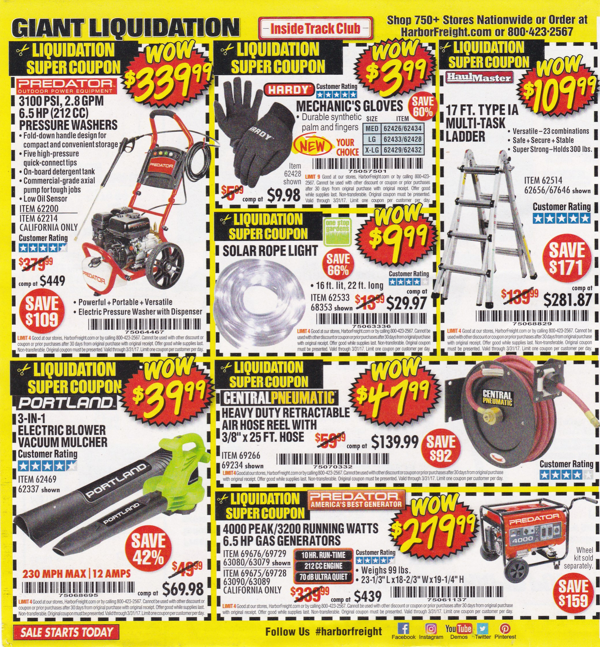 Over 100 Harbor Freight Coupons! Expiring 3/31/17