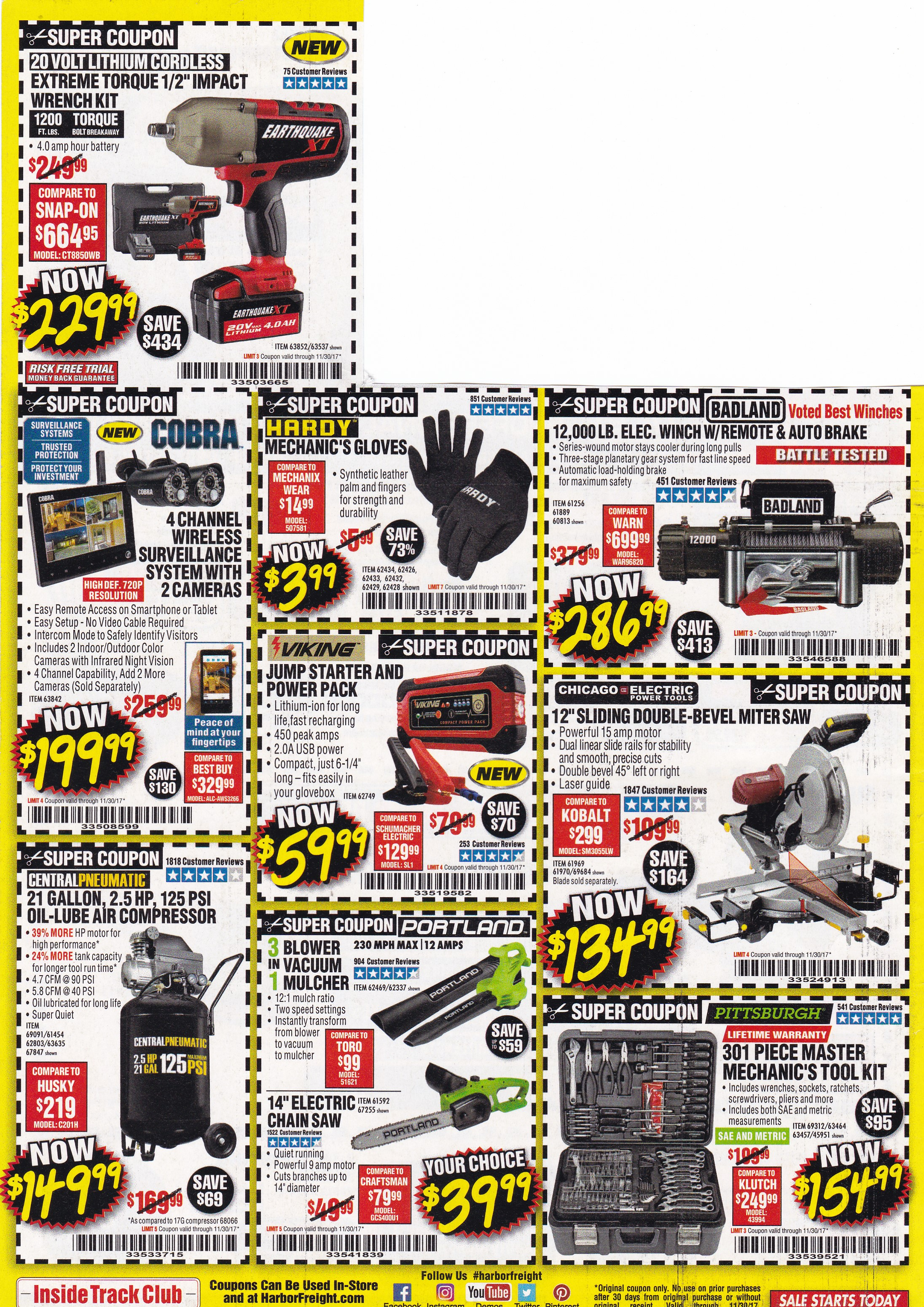 Harbor Freight Monthly Coupons Expiring 11/30/17 – Struggleville