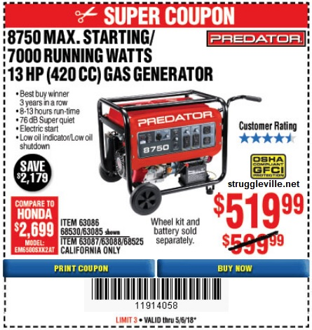 Harbor Freight Price Tracking – HUGE Generator Sale Coupons