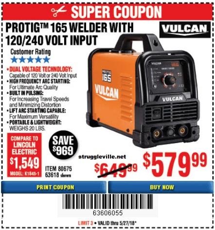 Vulcan ProTig 165 Welder With 120/240 Volt Input – Expires 5
