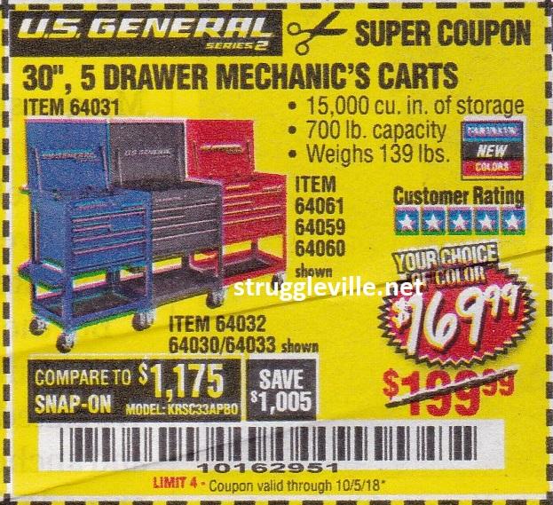 us general series 2 30″ 5 drawer mechanic's cart – expires 10/5/18 ...