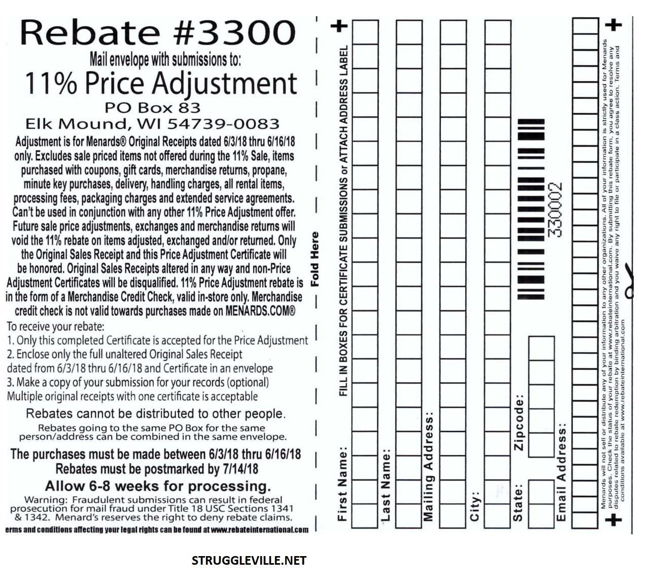 Menards 11% Price Adjustment Rebate #3300 – Purchases 6/3/18