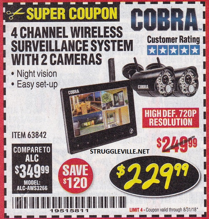 4 Channel Wireless Surveillance System With 2 Cameras – Expires 8/31
