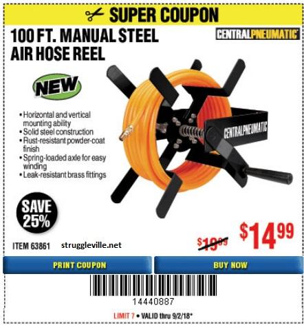 100 Ft Manual Steel Air Hose Reel Expires 9 2 18 63861