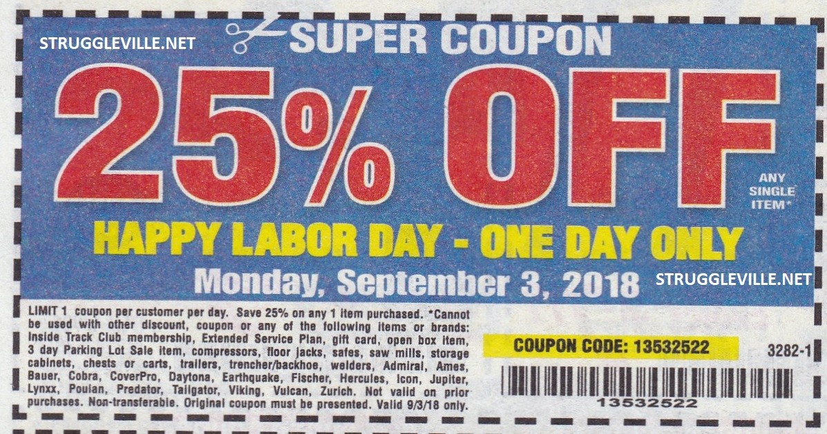 Harbor Freight Labor Day Sale With 25% Off Coupon – ONE DAY