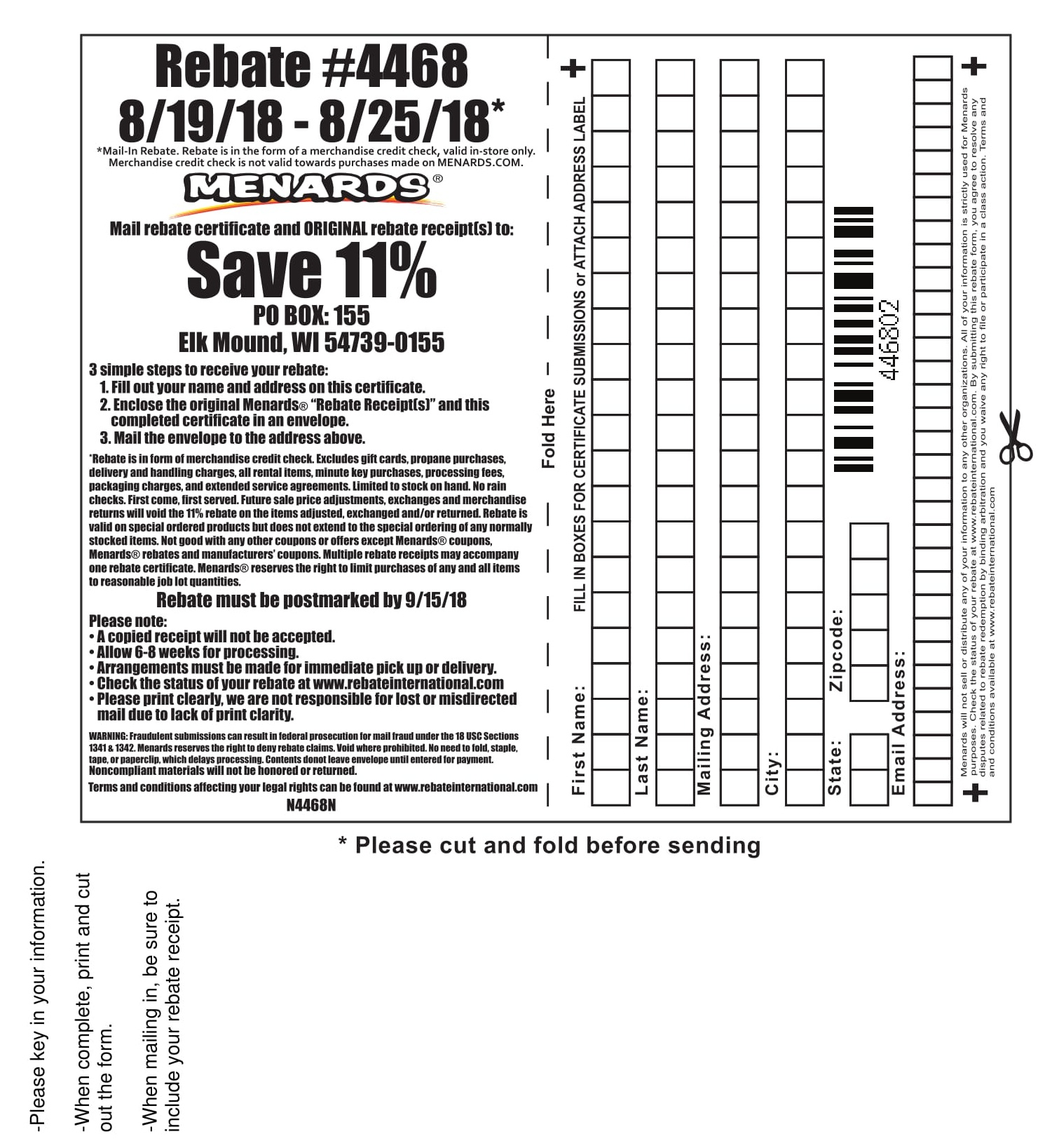Menards 11% Rebate #4468 – Purchases 8/19/18 – 8/25/18