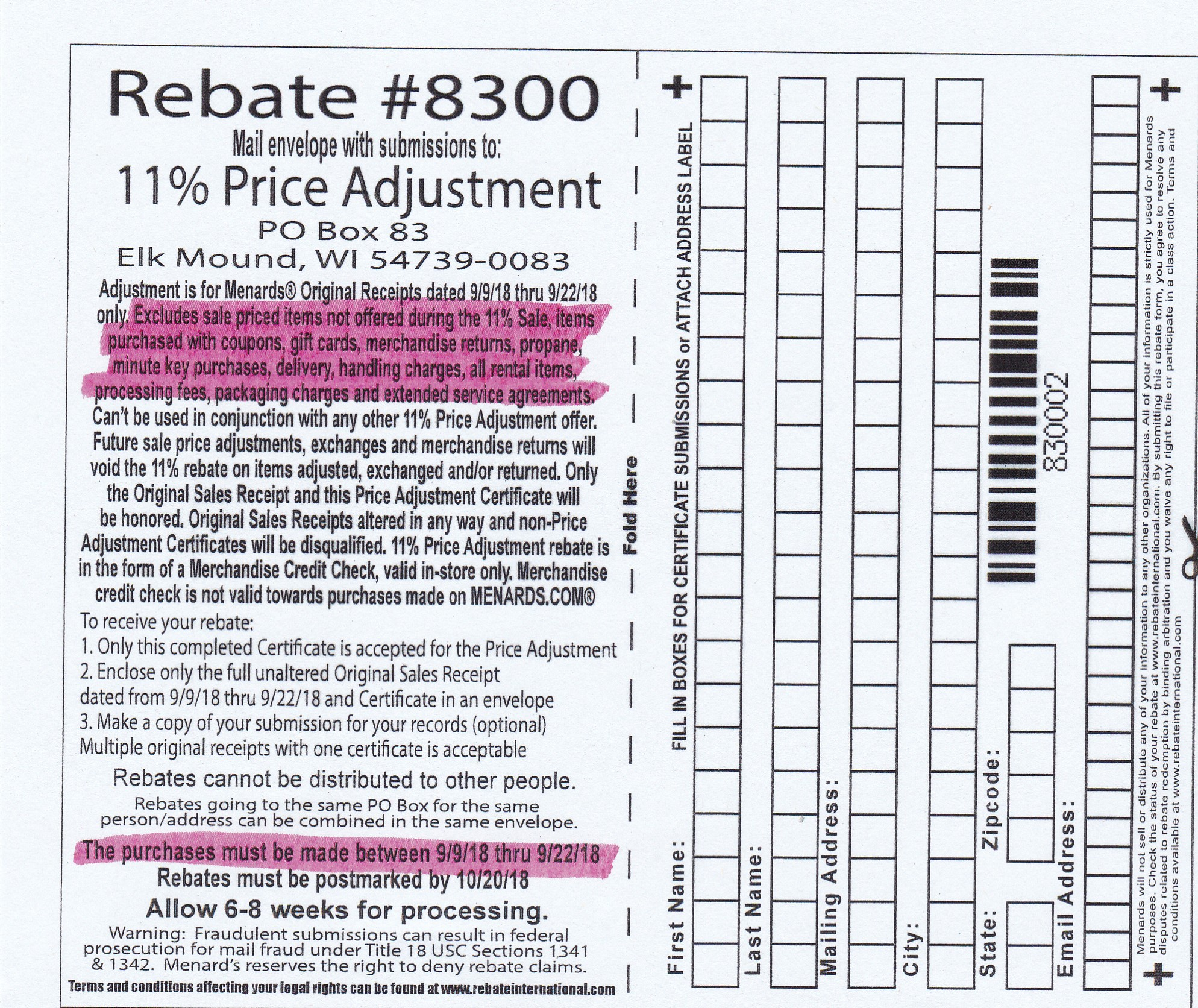 Menards 11% Price Adjustment Rebate #8300 – Purchases 9/9/18