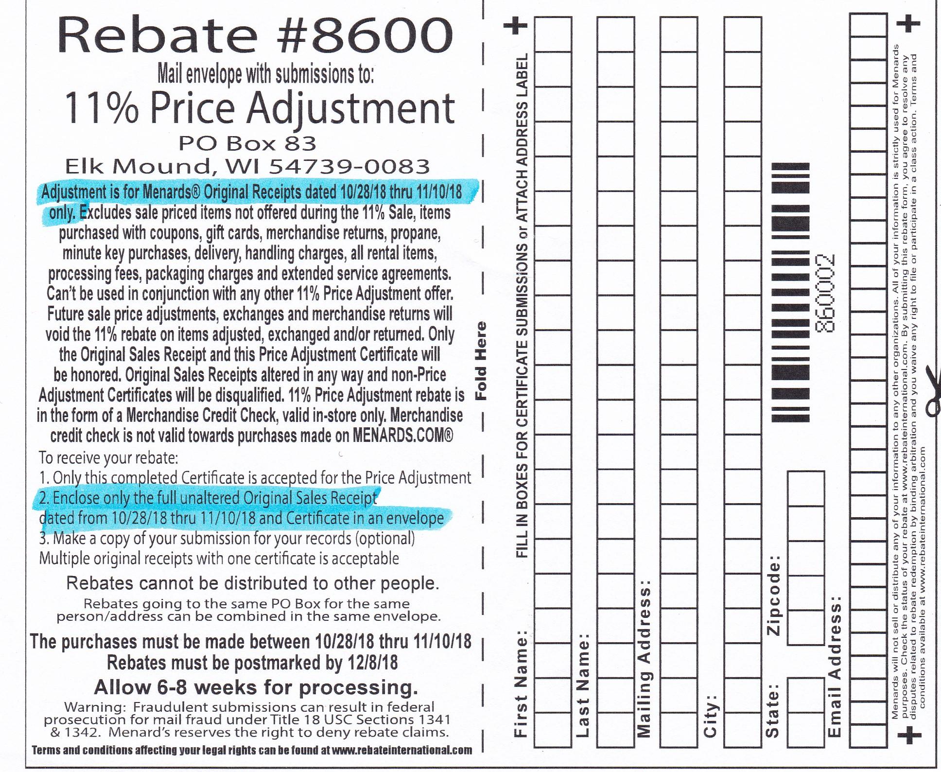 Menards 11% Price Adjustment Rebate #8600 – Purchases 10/28