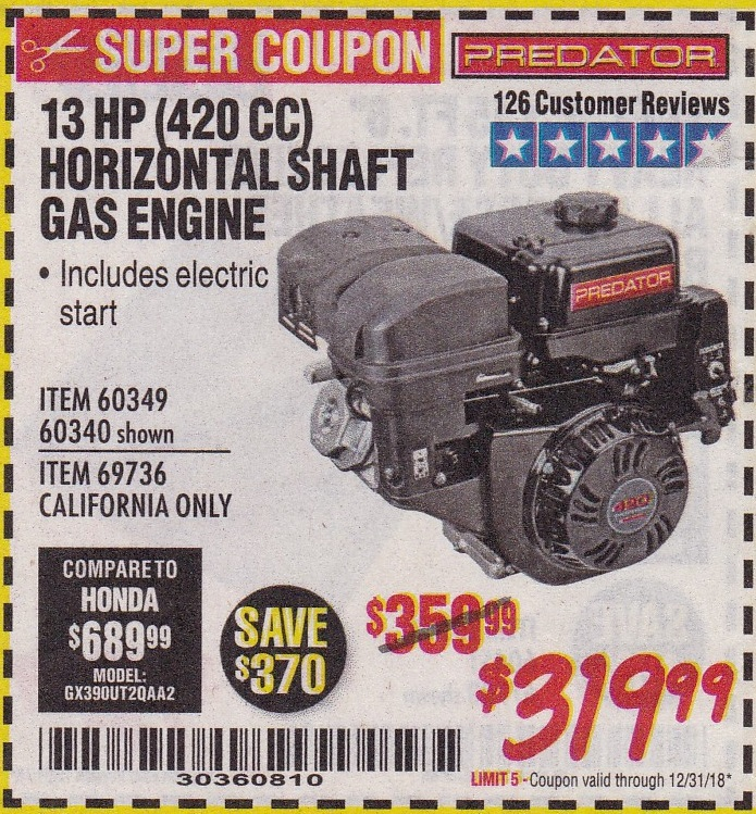 13 HP Horizontal Shaft Gas Engine – Expires 12/31/18 – 60349 60340