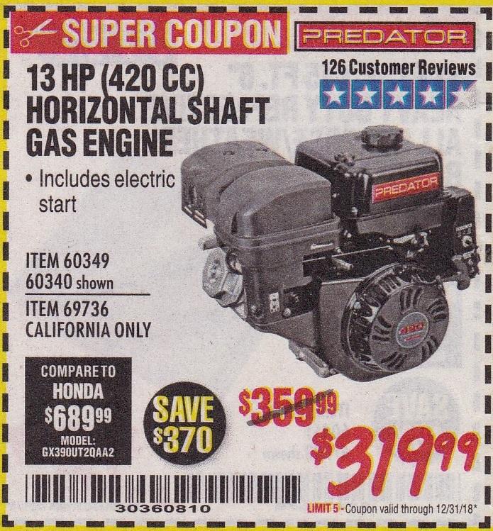 13 HP Horizontal Shaft Gas Engine – Expires 12/31/18 – 60349