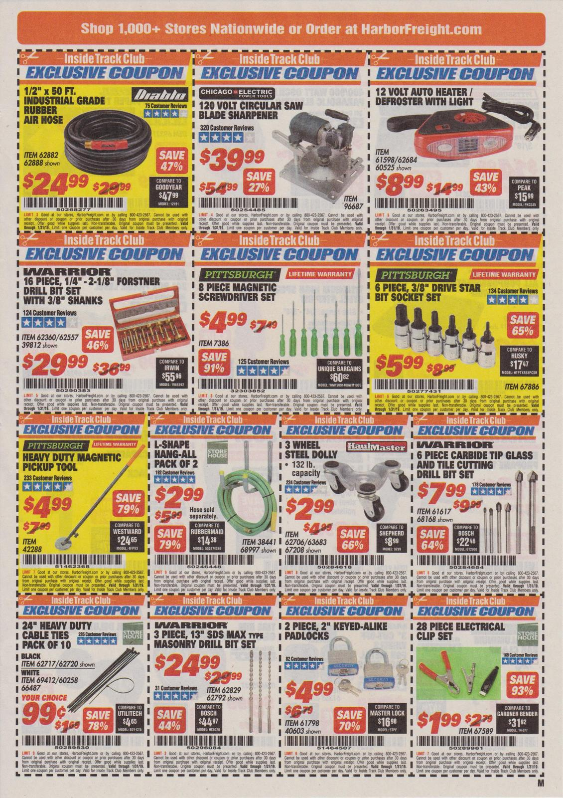 Harbor Freight Inside Track Club Coupons January 2019 Struggleville