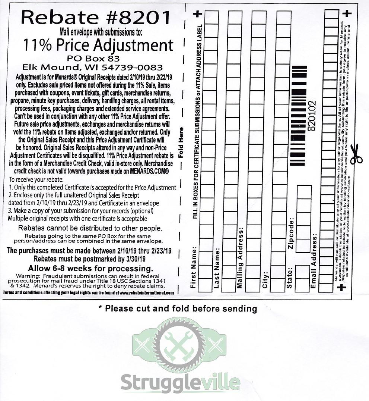 Menards 11% Price Adjustment Rebate #8201 – Purchases 2/10/19-2/23