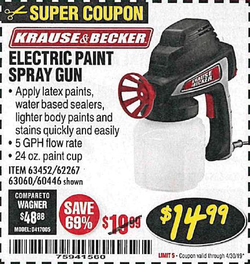Electric Paint Spray Gun Expires 4 30 19 63452 62267