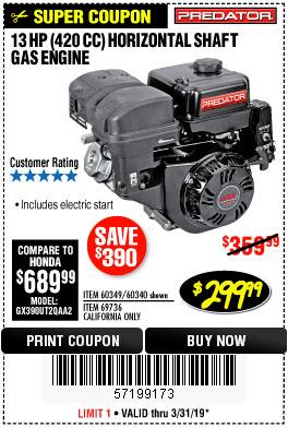 13 HP HORIZONTAL SHAFT GAS ENGINE – EXPIRES 3/31/19 – 60349